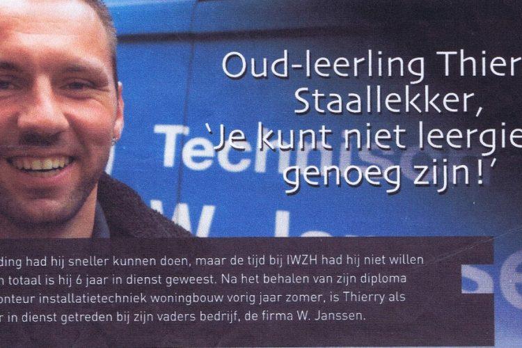 Interview | Oud-leerling Thierry Staallekker